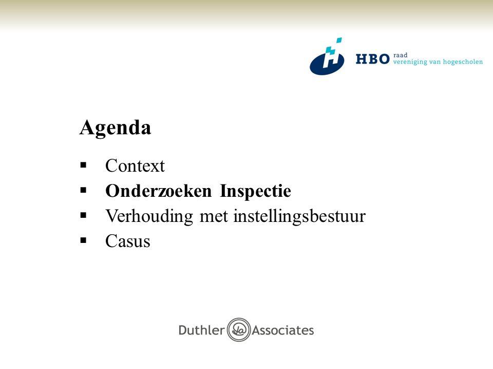 Agenda Context Onderzoeken Inspectie Verhouding met instellingsbestuur