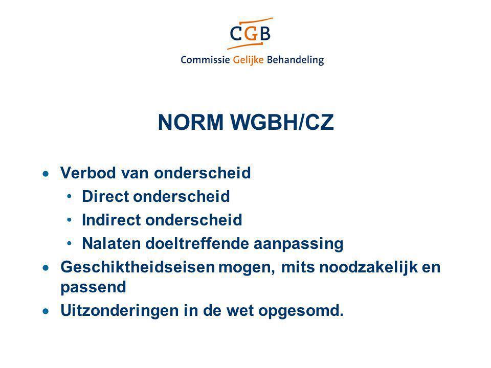 NORM WGBH/CZ Verbod van onderscheid Direct onderscheid