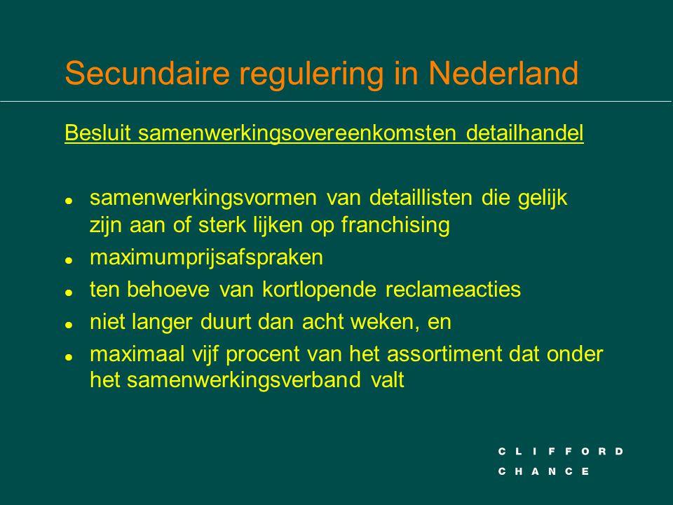 Secundaire regulering in Nederland