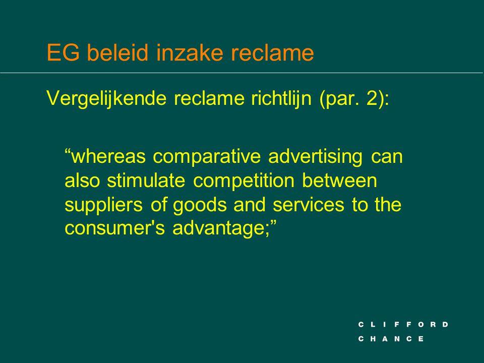 EG beleid inzake reclame