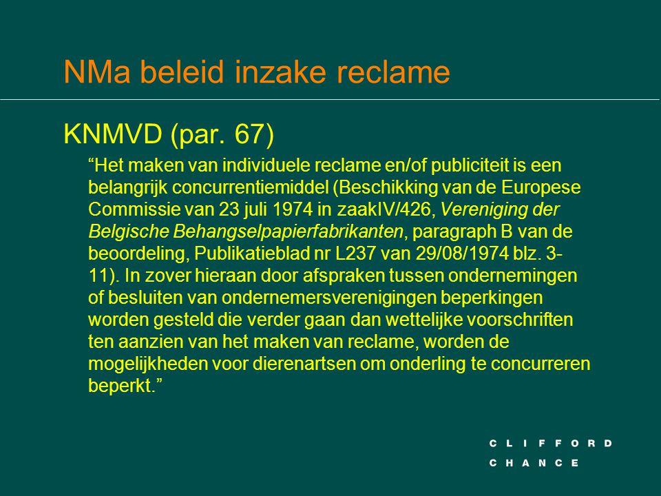 NMa beleid inzake reclame