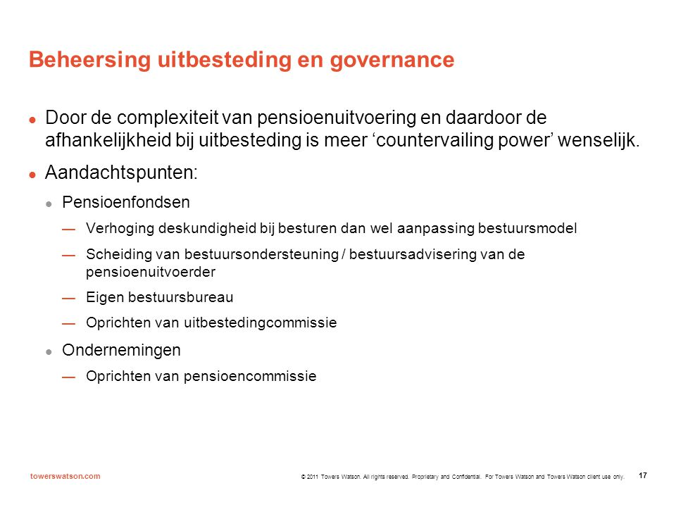 Beheersing uitbesteding en governance