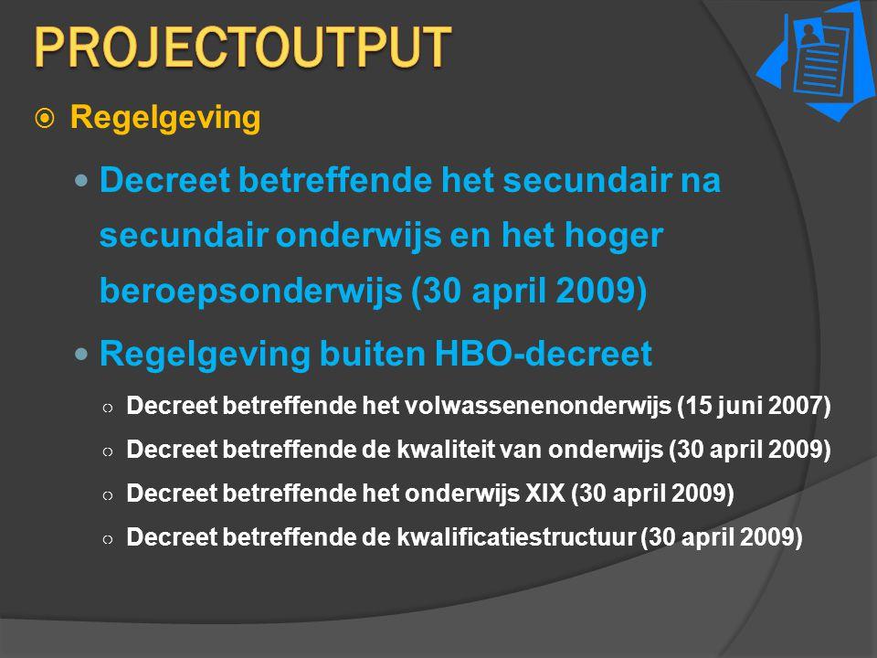 ProjectOUTPUT Regelgeving. Decreet betreffende het secundair na secundair onderwijs en het hoger beroepsonderwijs (30 april 2009)