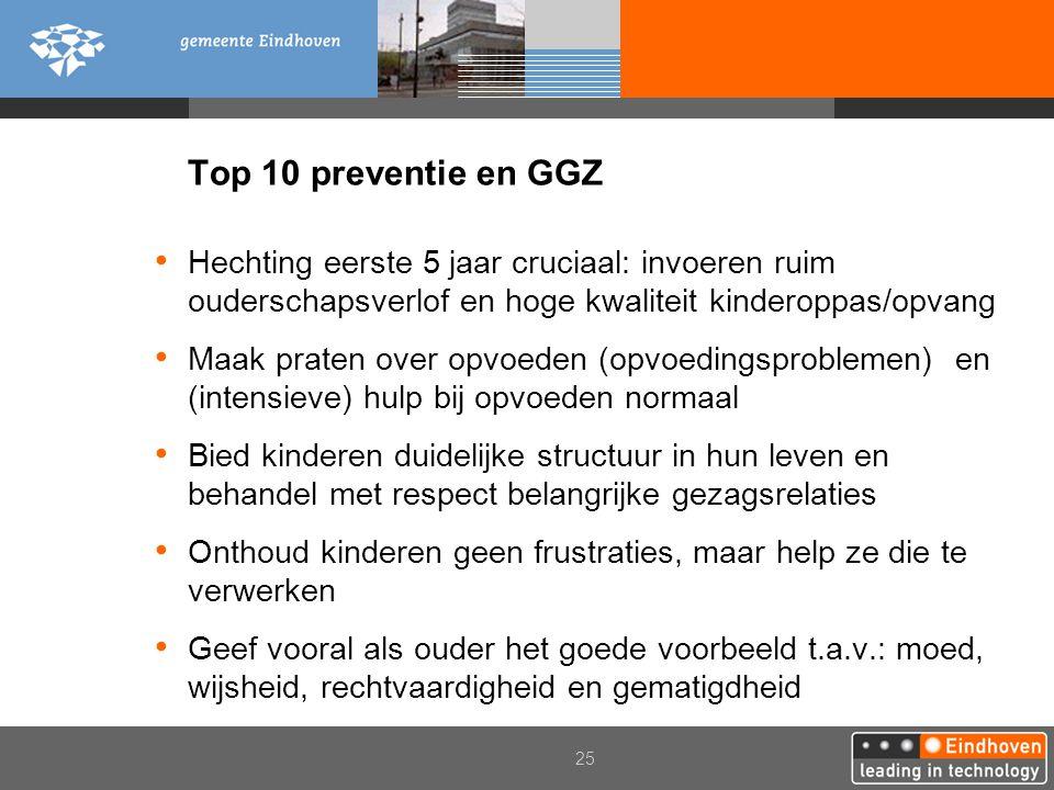 Top 10 preventie en GGZ Hechting eerste 5 jaar cruciaal: invoeren ruim ouderschapsverlof en hoge kwaliteit kinderoppas/opvang.