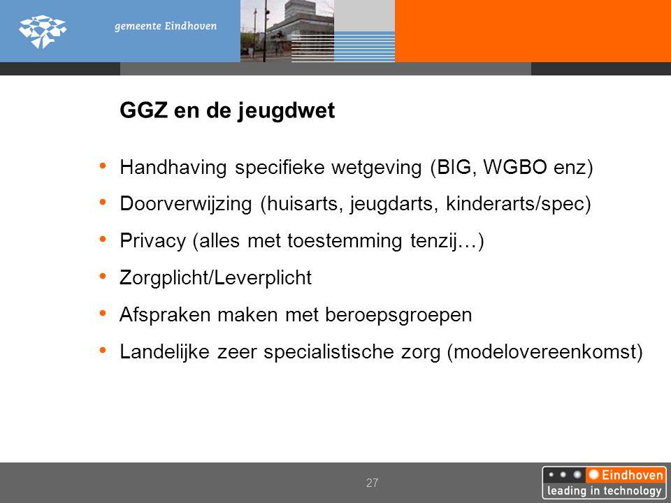 GGZ en de jeugdwet Handhaving specifieke wetgeving (BIG, WGBO enz)