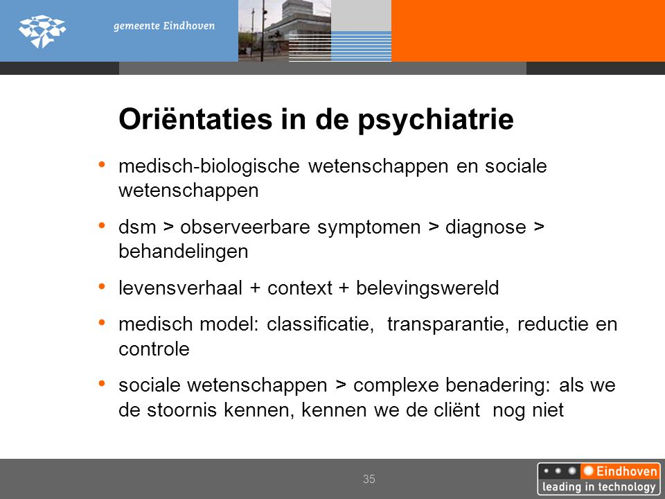 Oriëntaties in de psychiatrie