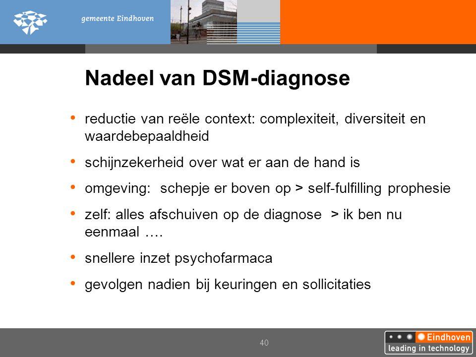 Nadeel van DSM-diagnose