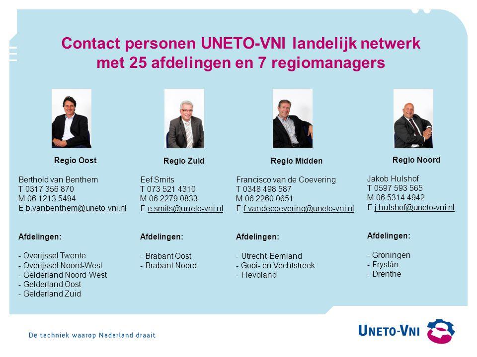 Contact personen UNETO-VNI landelijk netwerk met 25 afdelingen en 7 regiomanagers