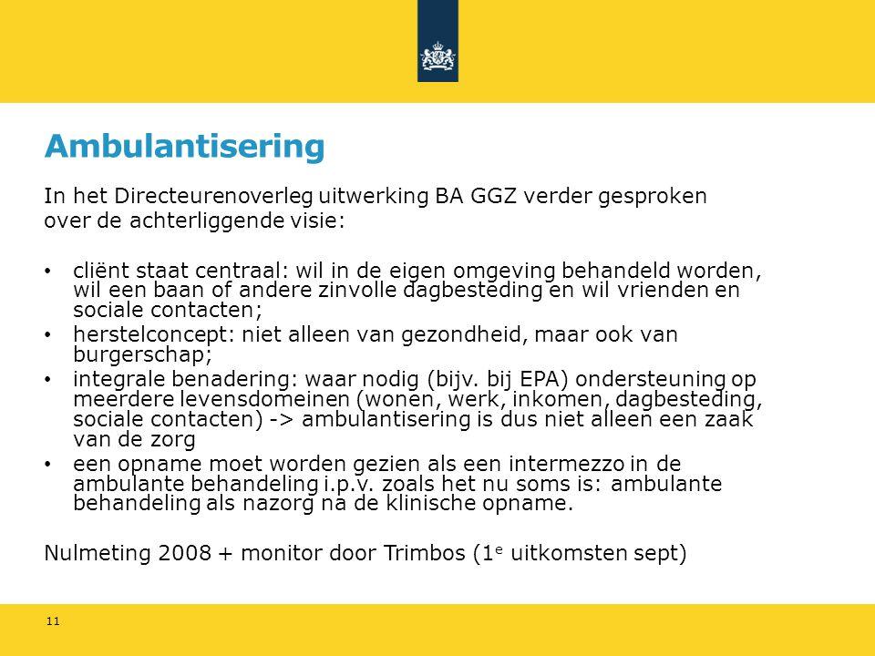 Ambulantisering In het Directeurenoverleg uitwerking BA GGZ verder gesproken. over de achterliggende visie: