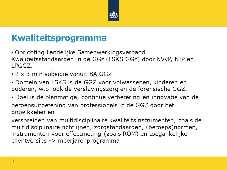 Kwaliteitsprogramma 2 x 3 mln subsidie vanuit BA GGZ