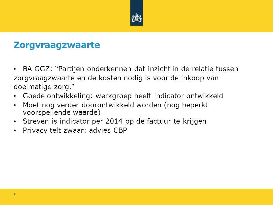 Zorgvraagzwaarte BA GGZ: Partijen onderkennen dat inzicht in de relatie tussen. zorgvraagzwaarte en de kosten nodig is voor de inkoop van.
