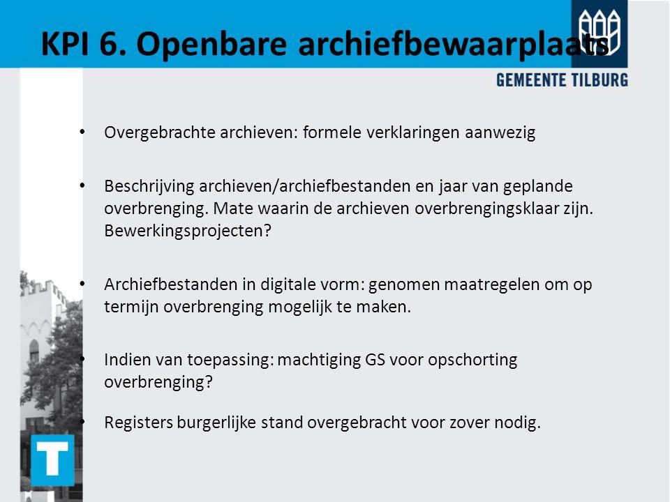 KPI 6. Openbare archiefbewaarplaats