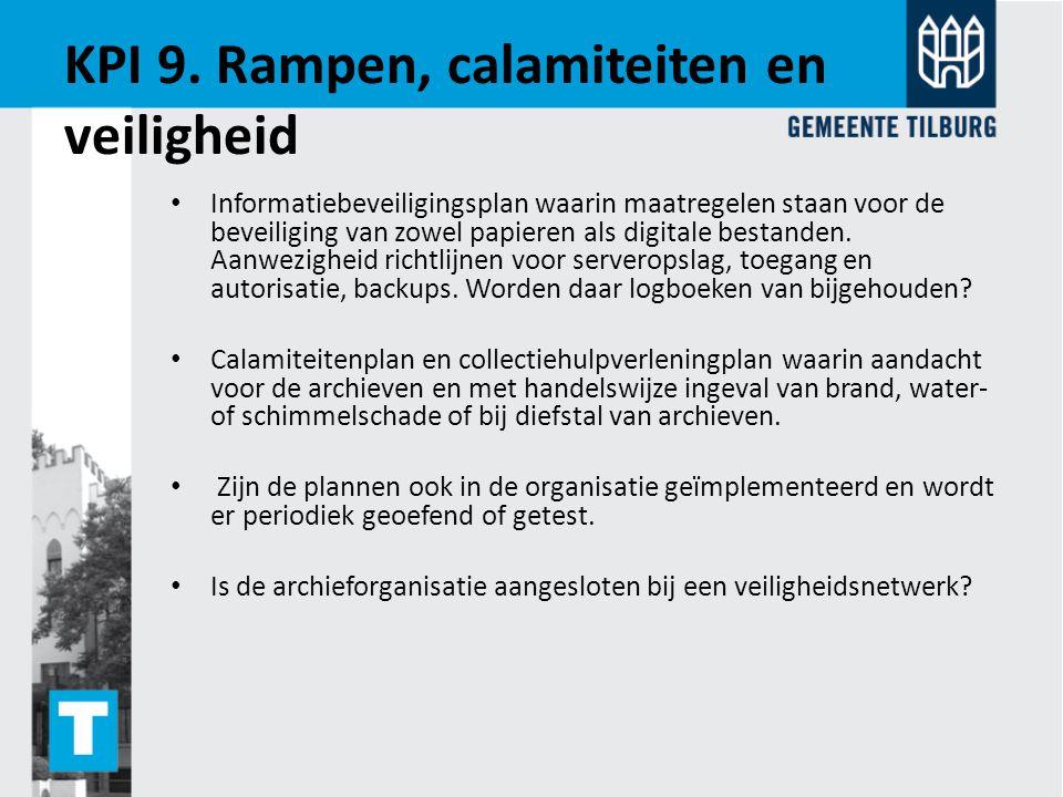 KPI 9. Rampen, calamiteiten en veiligheid
