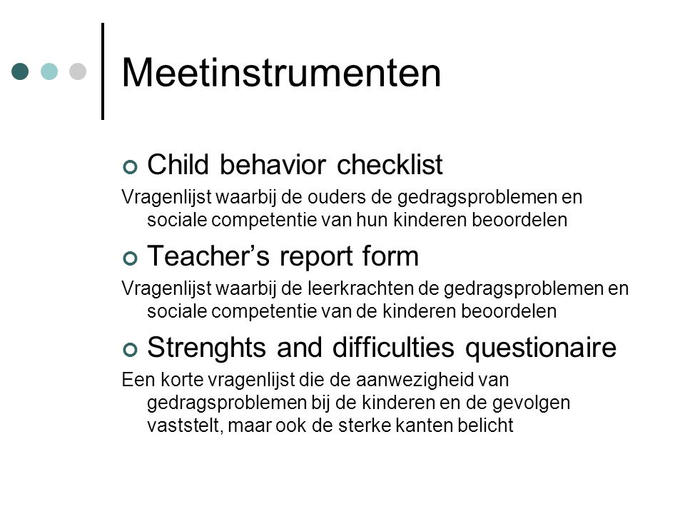 Meetinstrumenten Child behavior checklist Teacher's report form