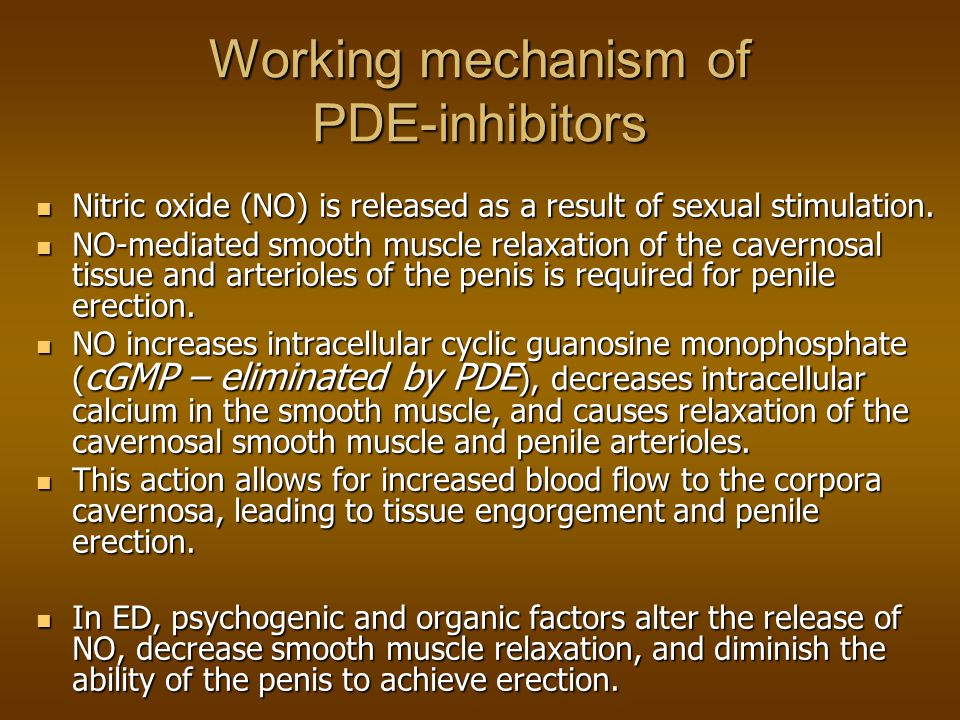 Working mechanism of PDE-inhibitors