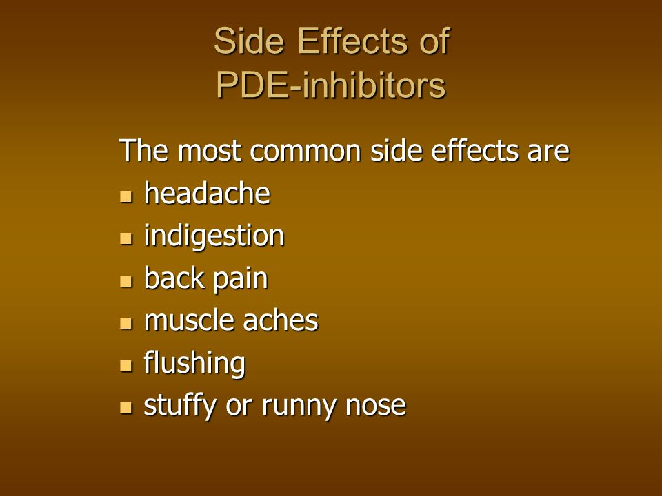 Side Effects of PDE-inhibitors