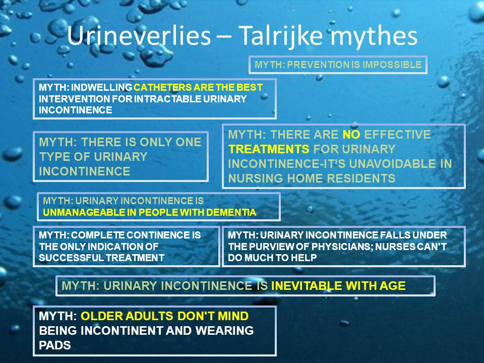 Urineverlies – Talrijke mythes