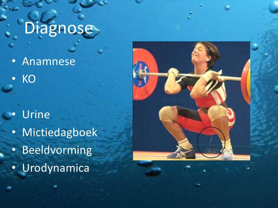 Diagnose Anamnese KO Urine Mictiedagboek Beeldvorming Urodynamica