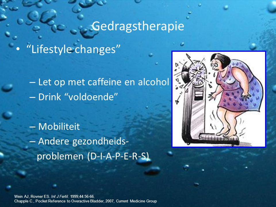 Gedragstherapie Lifestyle changes Let op met caffeine en alcohol