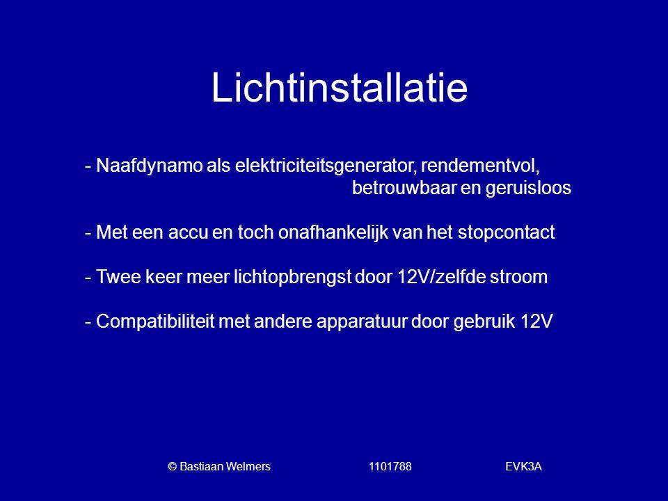 Lichtinstallatie - Naafdynamo als elektriciteitsgenerator, rendementvol, betrouwbaar en geruisloos.