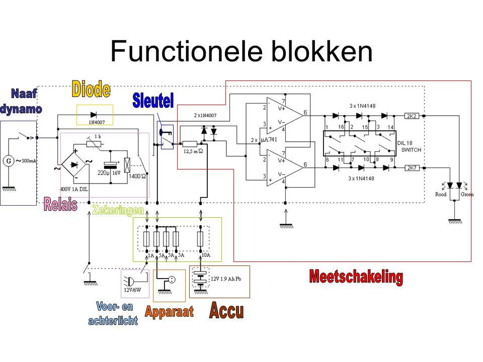 Functionele blokken Diode Meetschakeling Accu Sleutel Naaf dynamo