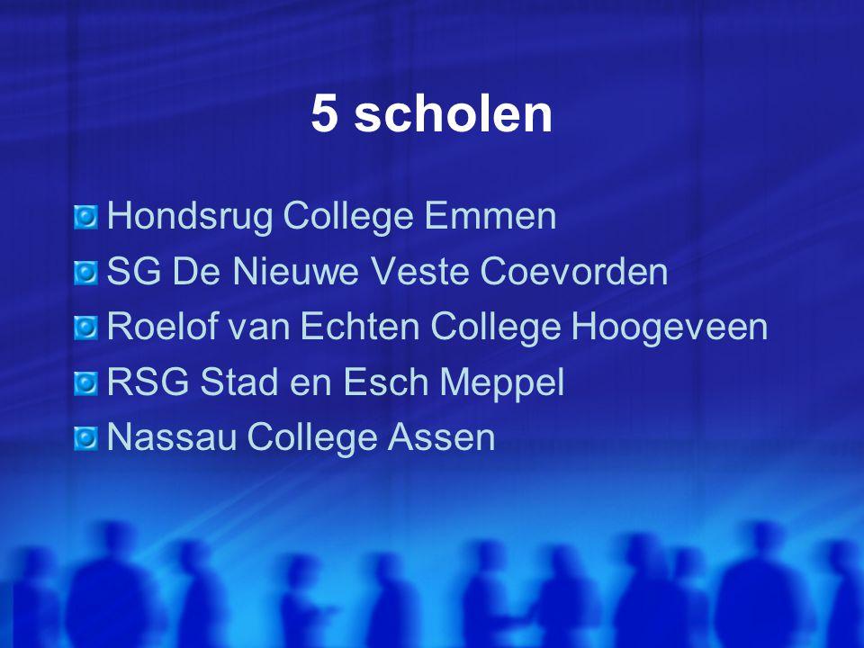 5 scholen Hondsrug College Emmen SG De Nieuwe Veste Coevorden