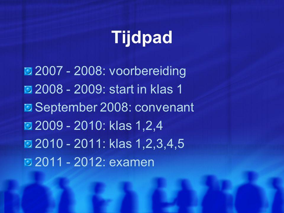 Tijdpad 2007 - 2008: voorbereiding 2008 - 2009: start in klas 1