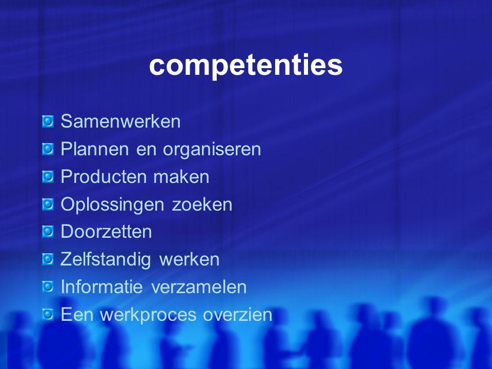 competenties Samenwerken Plannen en organiseren Producten maken