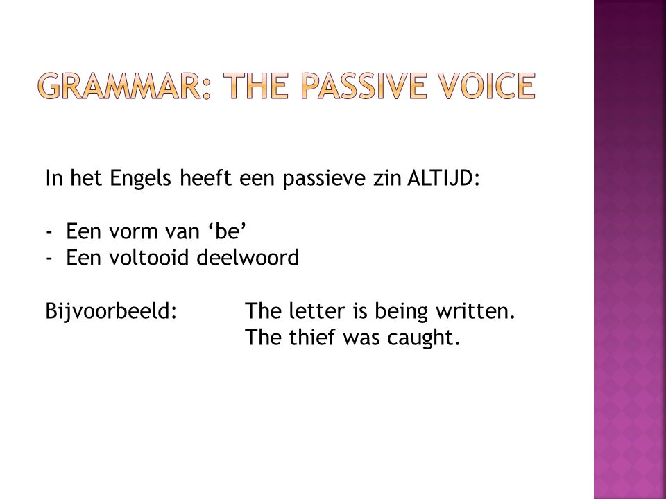 Grammar: The passive voice