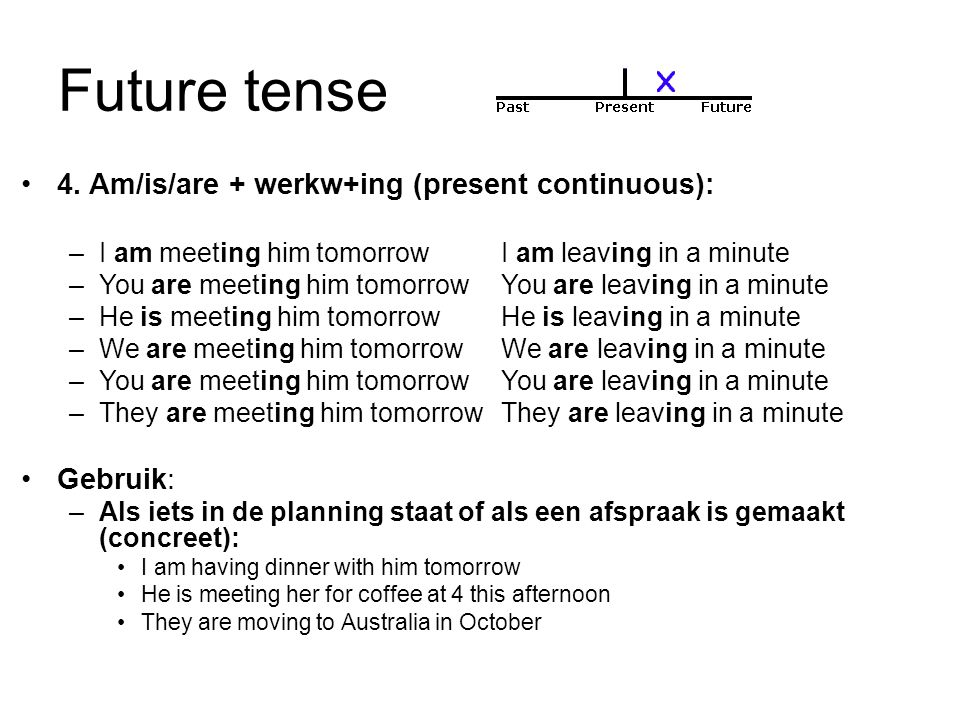 Future tense 4. Am/is/are + werkw+ing (present continuous): Gebruik: