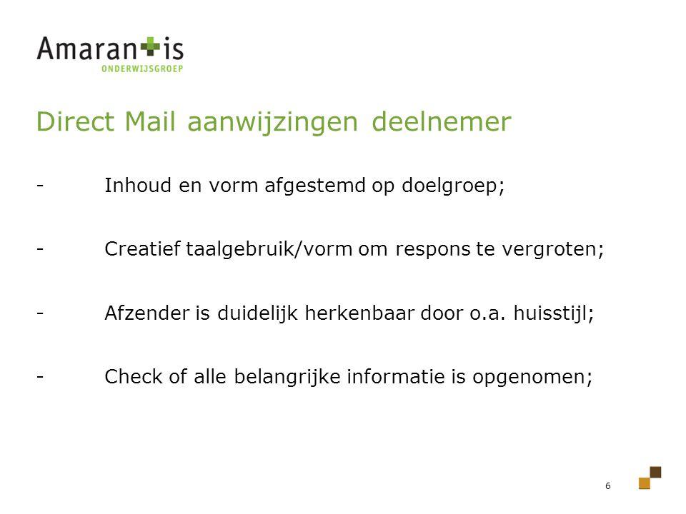 Direct Mail aanwijzingen deelnemer