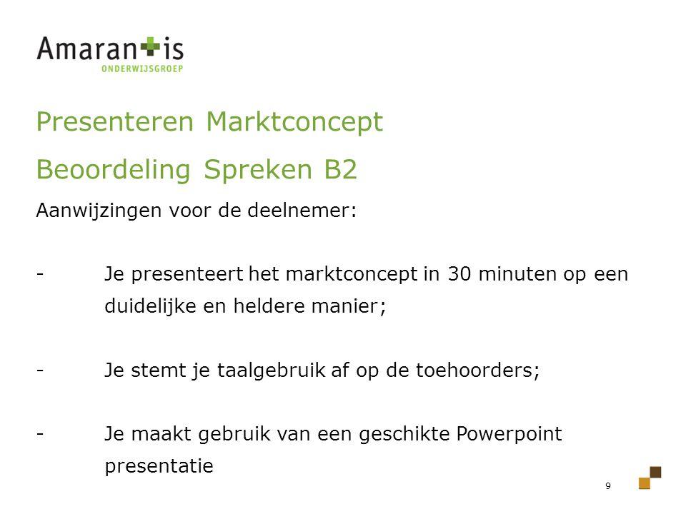 Presenteren Marktconcept Beoordeling Spreken B2