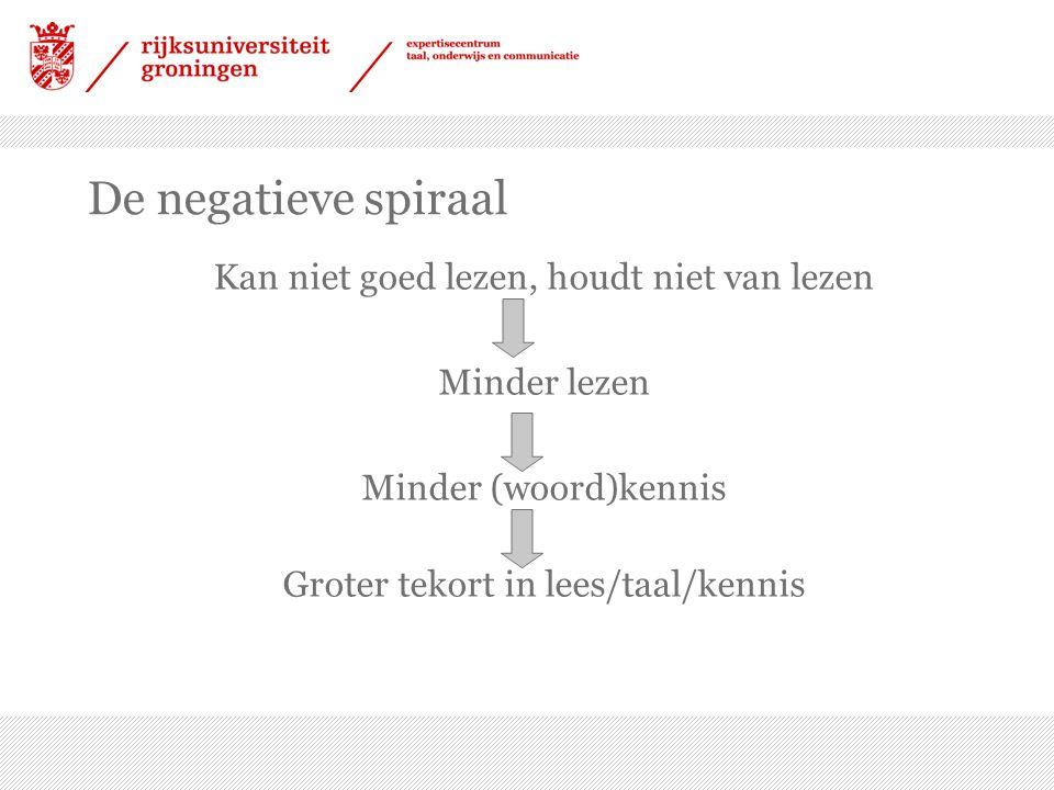 De negatieve spiraal Kan niet goed lezen, houdt niet van lezen