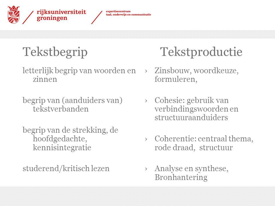 Tekstbegrip Tekstproductie