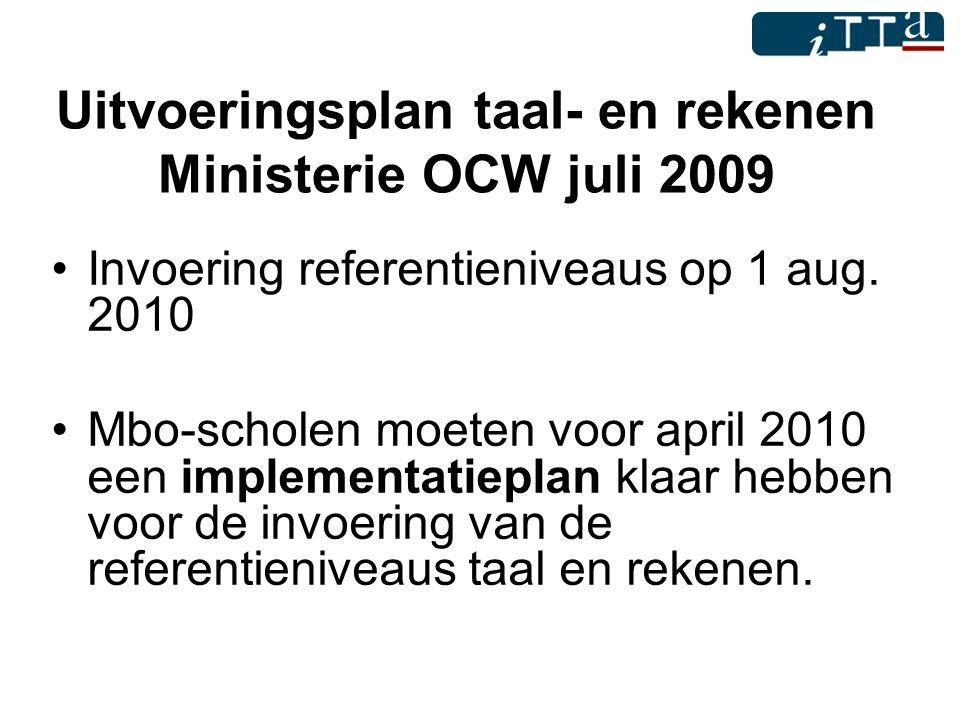 Uitvoeringsplan taal- en rekenen Ministerie OCW juli 2009