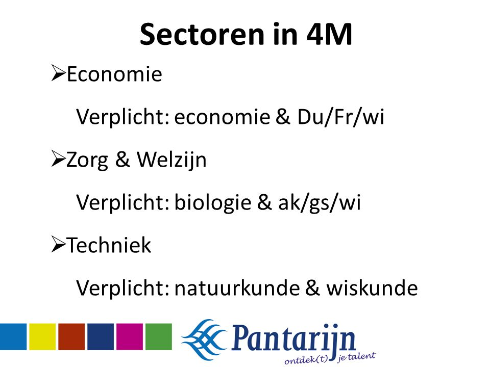 Sectoren in 4M Economie Verplicht: economie & Du/Fr/wi Zorg & Welzijn