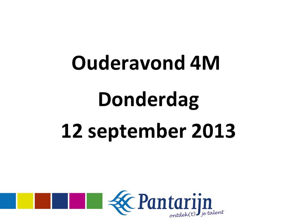 Ouderavond 4M Donderdag 12 september 2013