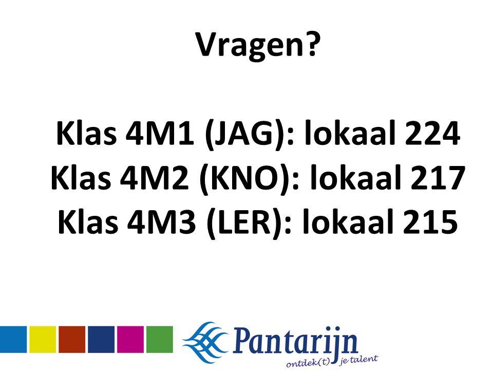 Vragen Klas 4M1 (JAG): lokaal 224 Klas 4M2 (KNO): lokaal 217 Klas 4M3 (LER): lokaal 215