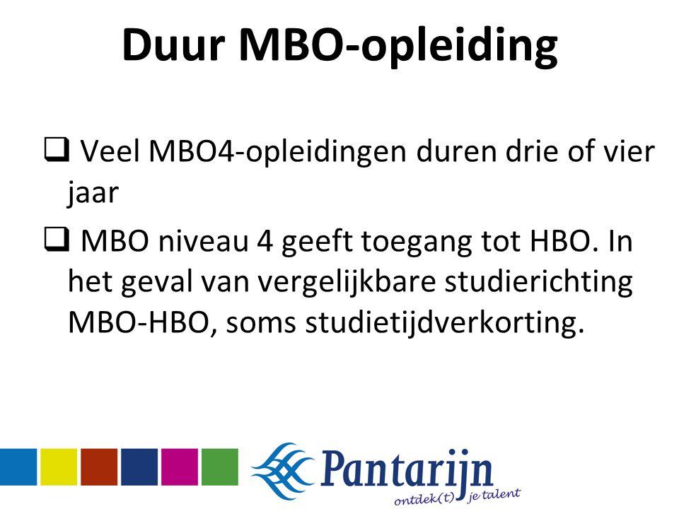 Duur MBO-opleiding Veel MBO4-opleidingen duren drie of vier jaar