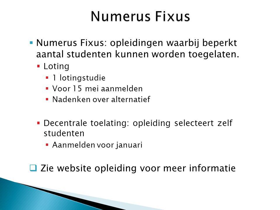 Numerus Fixus Numerus Fixus: opleidingen waarbij beperkt aantal studenten kunnen worden toegelaten.