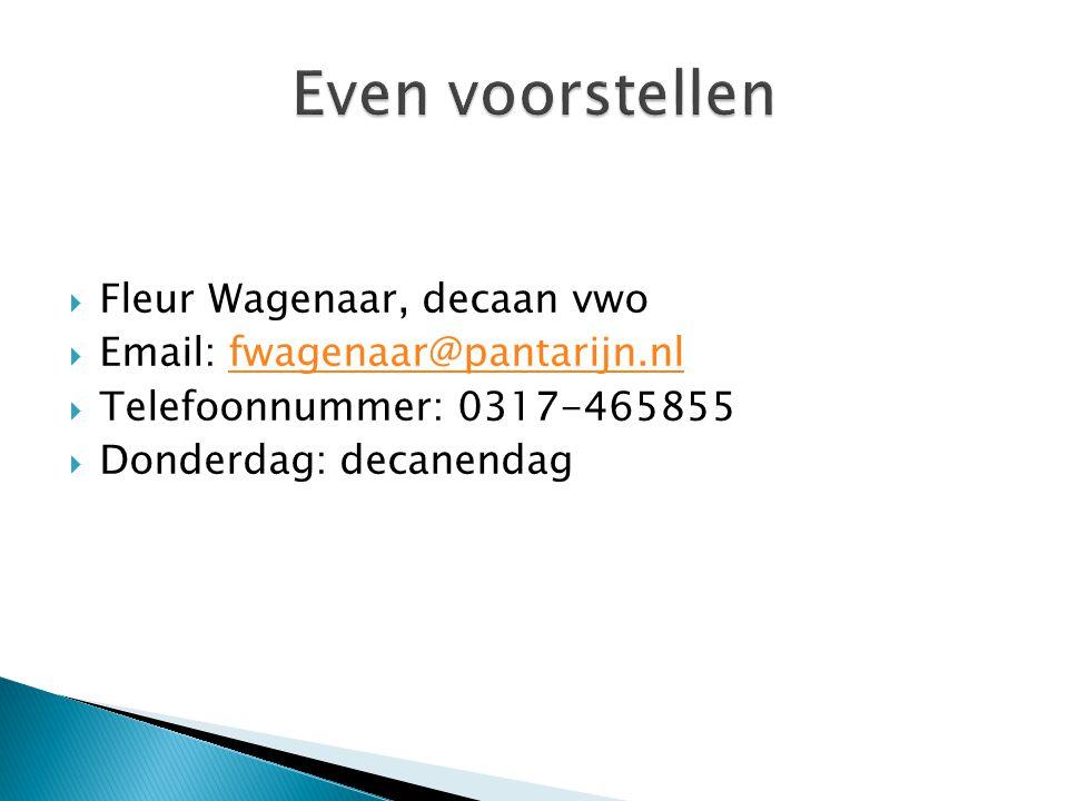Even voorstellen Fleur Wagenaar, decaan vwo