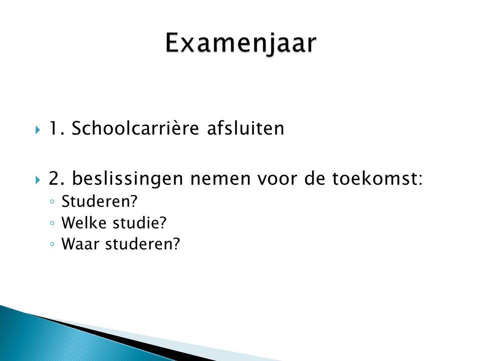Examenjaar 1. Schoolcarrière afsluiten