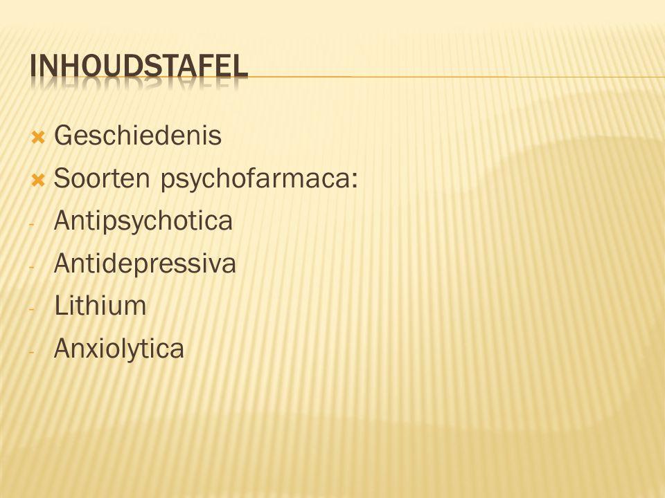 Inhoudstafel Geschiedenis Soorten psychofarmaca: Antipsychotica
