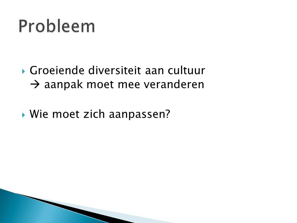 Probleem Groeiende diversiteit aan cultuur  aanpak moet mee veranderen Wie moet zich aanpassen