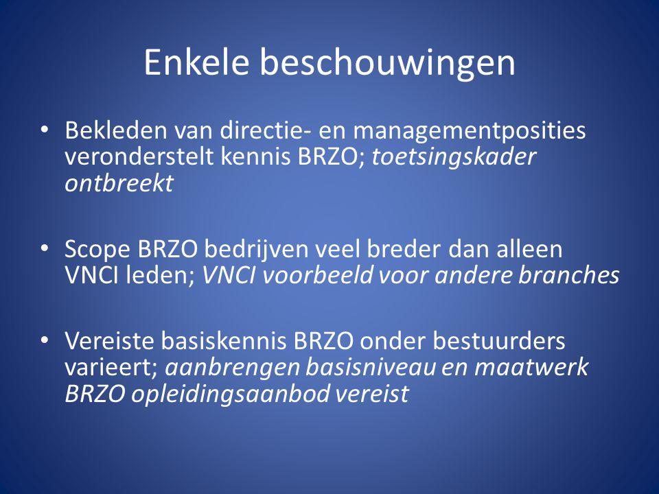 Enkele beschouwingen Bekleden van directie- en managementposities veronderstelt kennis BRZO; toetsingskader ontbreekt.