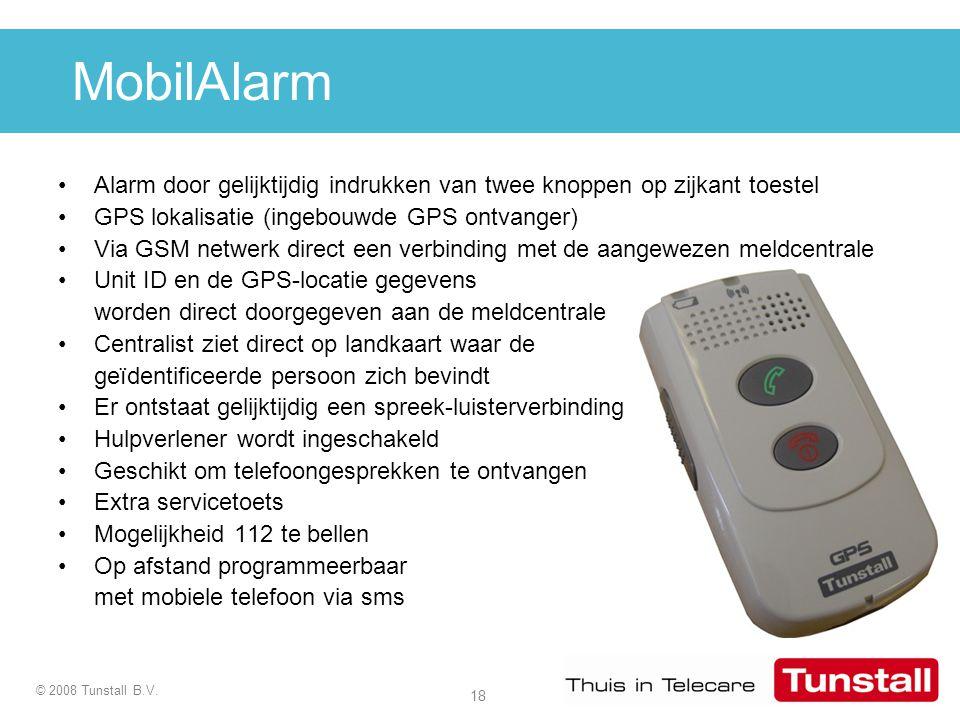MobilAlarm Alarm door gelijktijdig indrukken van twee knoppen op zijkant toestel. GPS lokalisatie (ingebouwde GPS ontvanger)