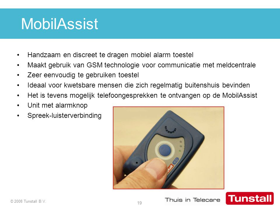MobilAssist Handzaam en discreet te dragen mobiel alarm toestel