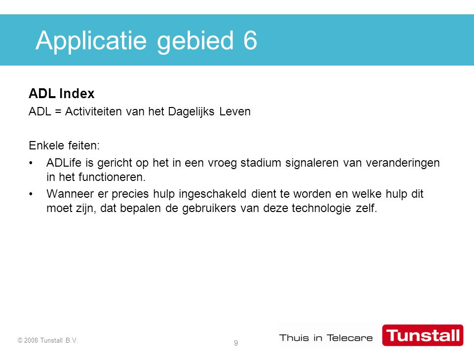 Applicatie gebied 6 ADL Index