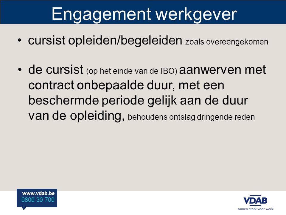 Engagement werkgever cursist opleiden/begeleiden zoals overeengekomen