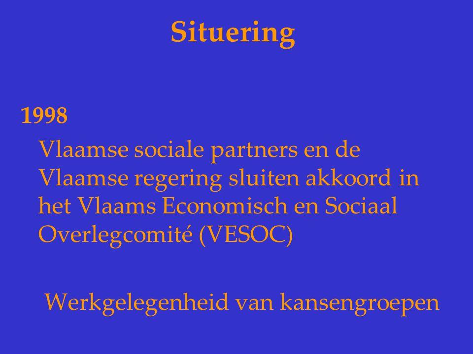 Situering 1998. Vlaamse sociale partners en de Vlaamse regering sluiten akkoord in het Vlaams Economisch en Sociaal Overlegcomité (VESOC)